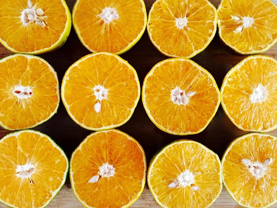オレンジ, 黄, 切る, スライス, 半分, フルーツ, ジューシー, 新鮮な, ピット, セクション, 食物