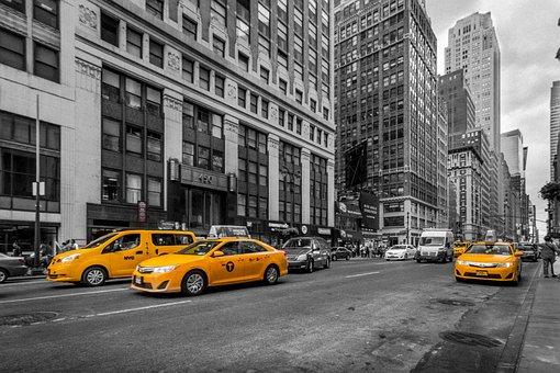 ニューヨーク, タクシー, 都市, 市, 通り, マンハッタン, 黄色
