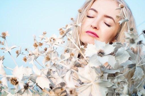 Flores Do Sol, Menina, Mulher, Retrato