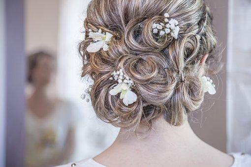 髪, 結婚, ブライド, 女性, 白人, ファッション, ホワイト