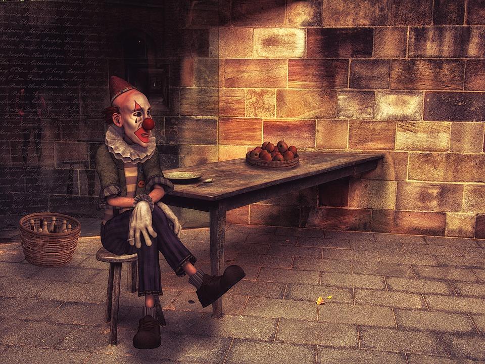 Klaun, Samotny, Opuszczony, Sad, Fantasy