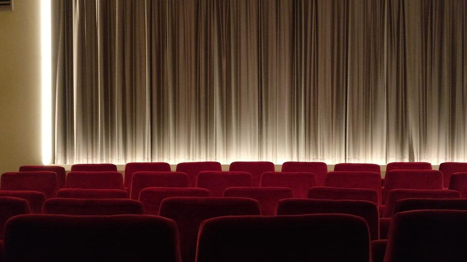 シネマ, キャンバス, 蒸し, カーテン, 映画, 空, 座る, 映画館ホール