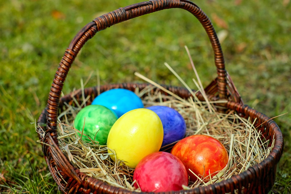 easter eggs basket egg color colored