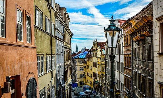 Prague, Rue, Ciel, Tchèque, Europe