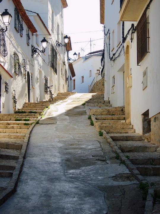 Escaleras, Casas, Fachada, Altea, España, Calles