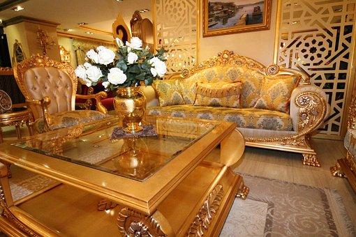 品揃えへ, トルコ家具, クラシックな家具, ドバイ, オデッサ, ソファセット