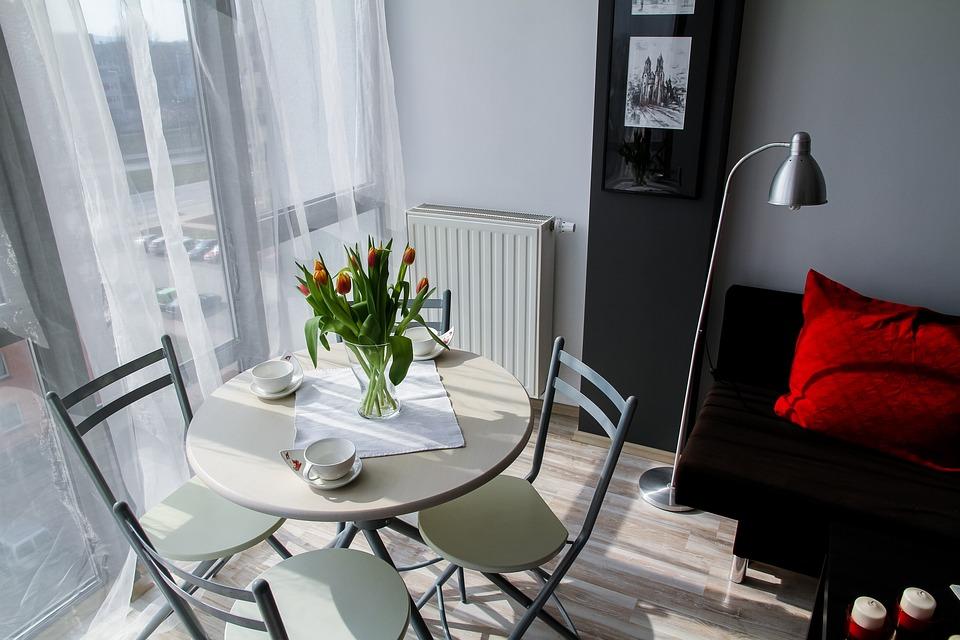 アパート, ルーム, 家, 住宅インテリア, インテリアデザイン, 装飾, 快適なアパート, 花