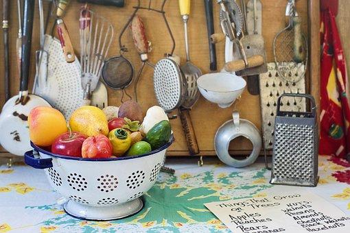 レトロ, ビンテージ, キッチン, 道具, 野菜, アンティーク, 古い