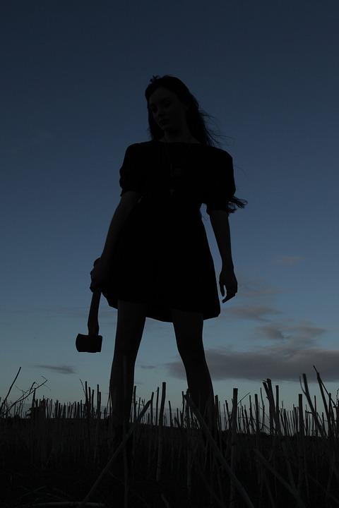 斧, 殺人者, シルエット, 女性, 夕暮れ, 日没, 暗い, ホラー, キラー, フィールド, 概念の