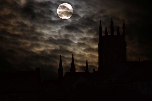 Full Moon, Silhouette, Castle, Night