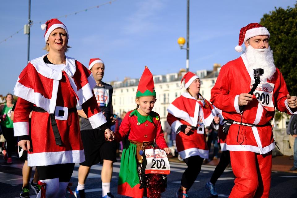 Santa, Santarun, Christmas, Red, Beard, Xmas, Claus