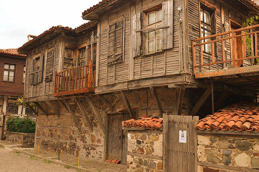 Bulgaria Sozopol City Street Old House Bul