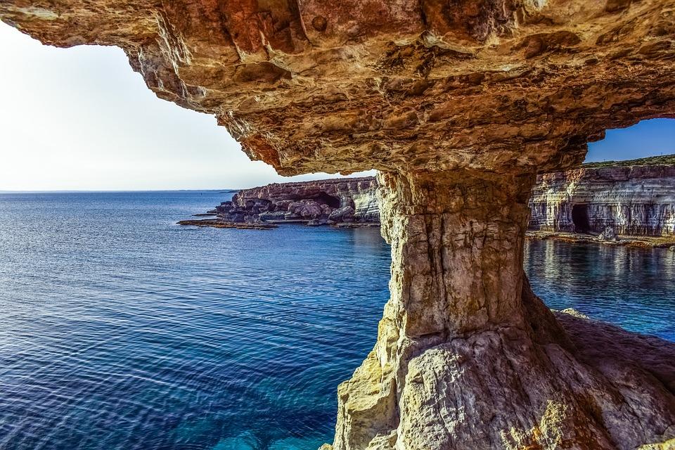 Кипр, Каво Греко, Морские Пещеры, Пейзаж, Море, Эрозии