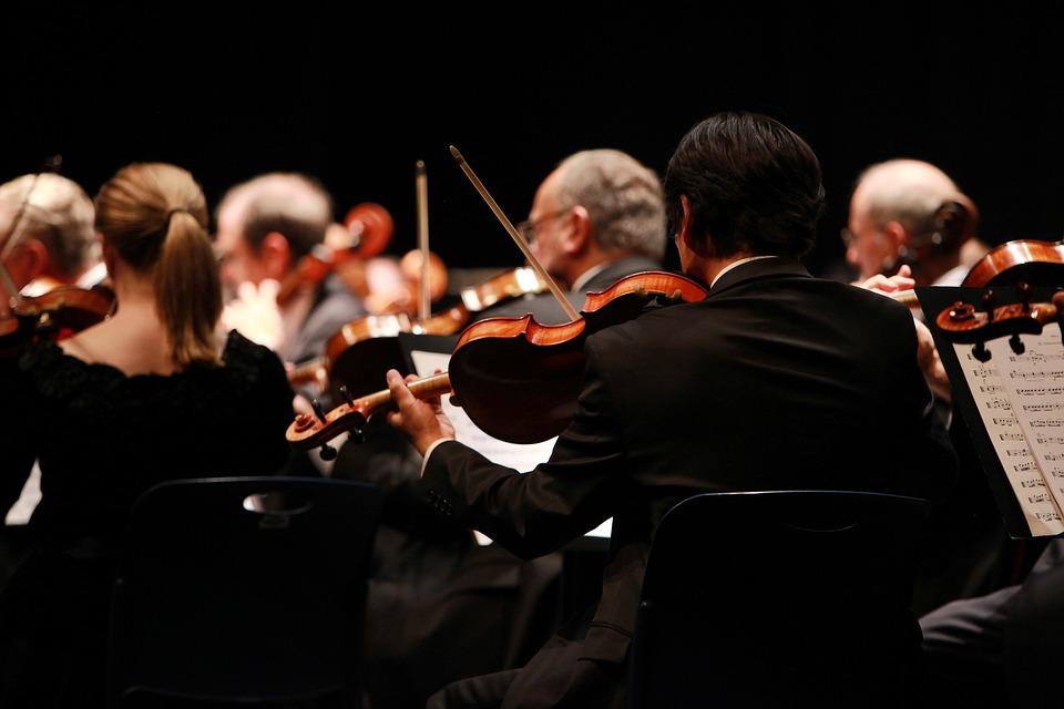 オーケストラ, 交響曲, ステージ, 実行します, 公演, コンサート, 音楽, バイオリン