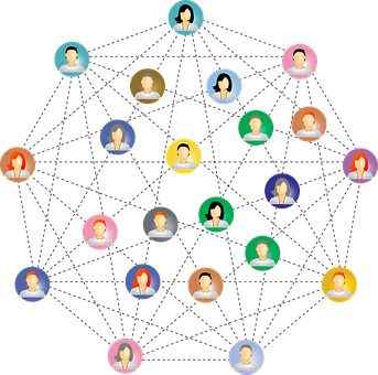 An image showing busts connected by dotted lines to signify networking as part of My personal experience with AWeber as an affiliate and a customer