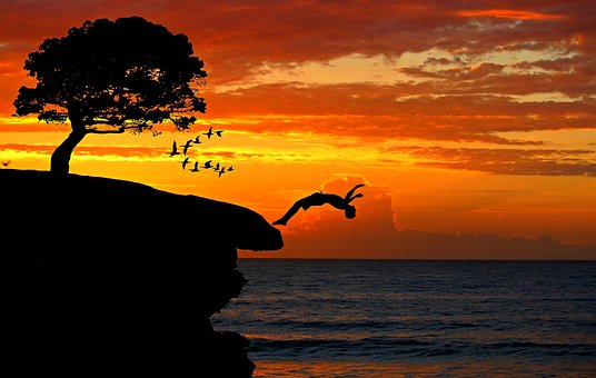 Boy, Cliff, Jump, Courage, Sea