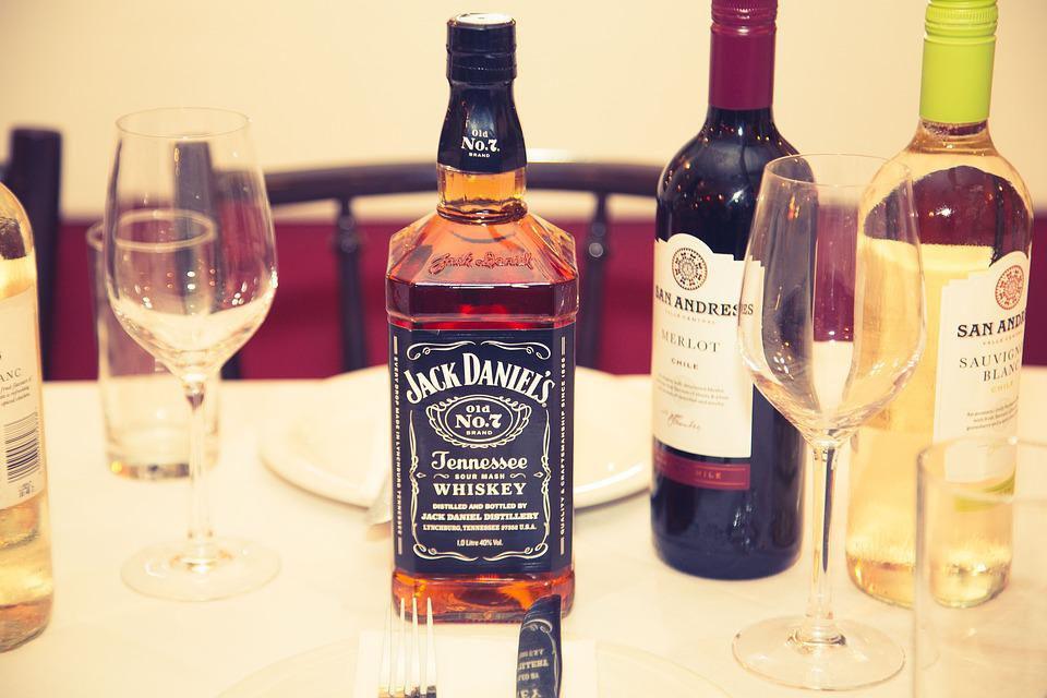 Different bottles of bourbons