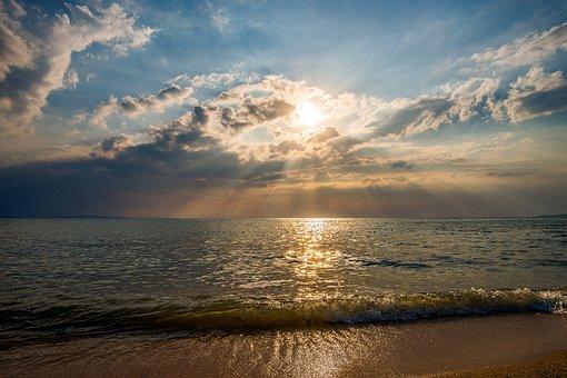 Sunset, Tropical, Sea, Ocean, Travel