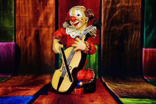 Clown, Figure, Funny, Music, Play