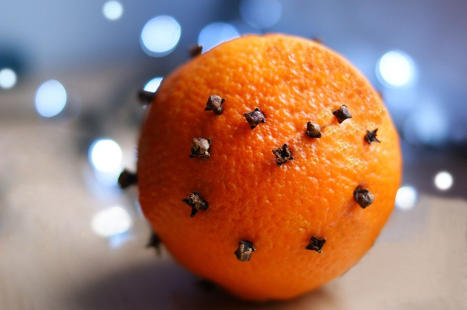 Cloves poked into an orange