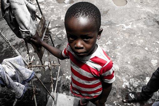 Kid, Child, Sad, Red, Stripe, Shirt, Boy