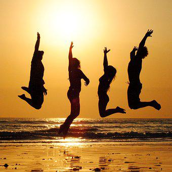 Sunset Beach Group Jump People Friends Cel