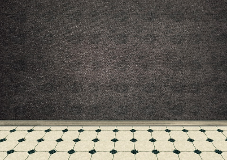 room empty interior ground tiles white black