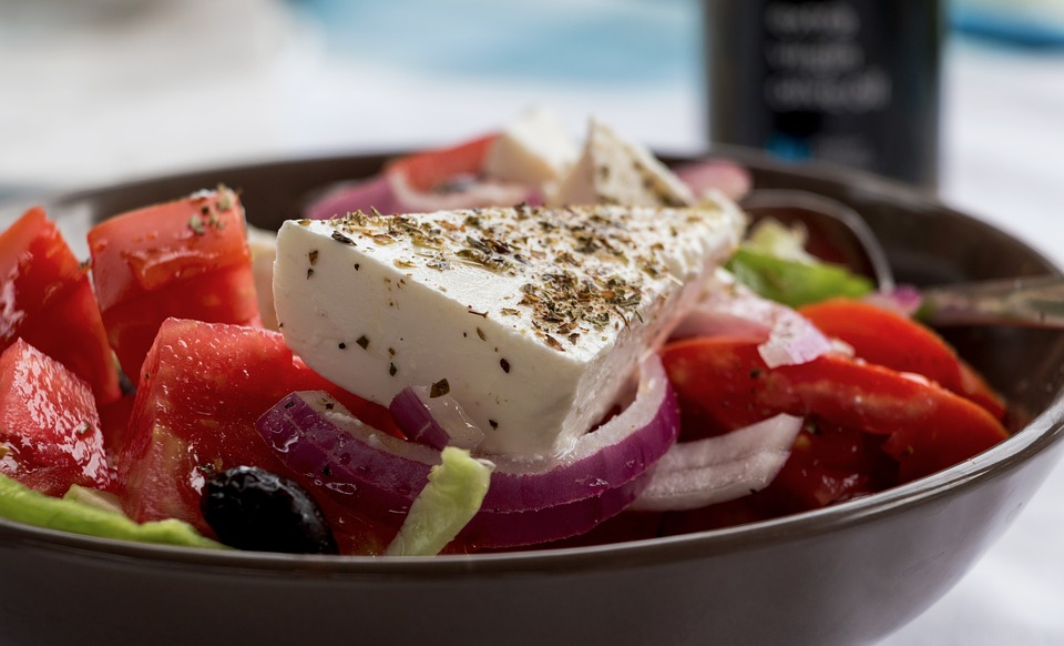 Insalata Greca, Feta, Conchiglia, Verdure, Pomodori