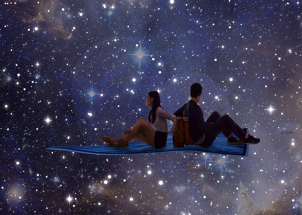 Young Couple, Stars, Space, Man, Woman, Night, Love