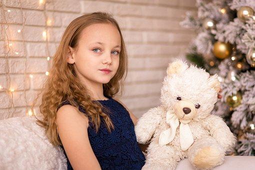 Girl, Toy, Bear, Child, Kid, Little