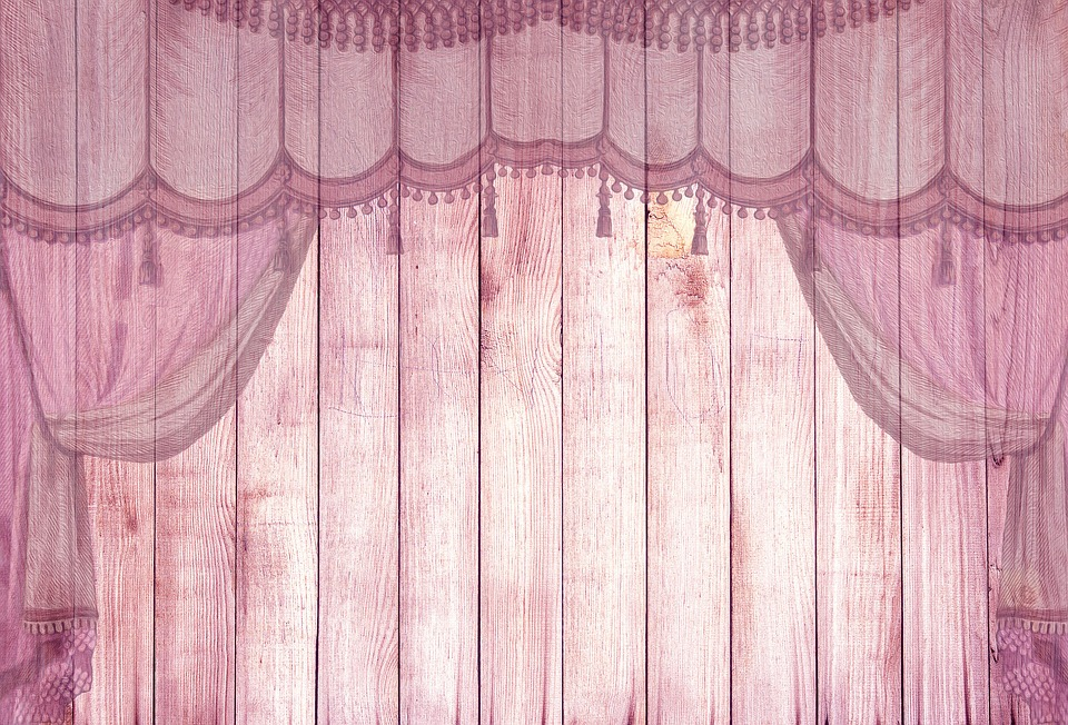 Free illustration on wood pink stage curtain free for Background curtain decoration