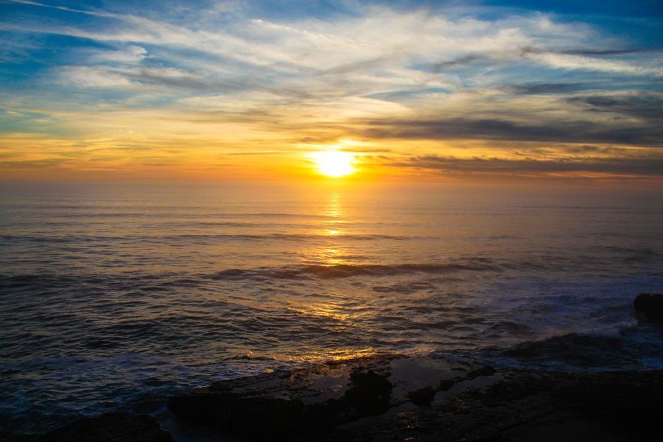 Sonnenuntergang, Pazifischer Ozean, California