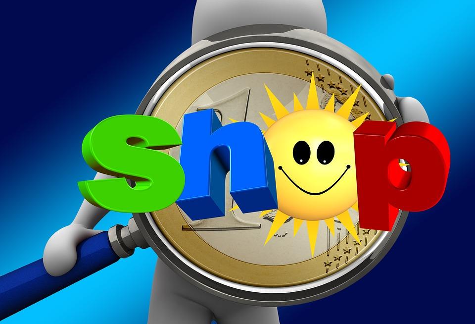 Shop, Geschäft, Sonne, Lächeln, Figur, Mann, Lupe