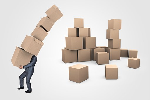 Businessman, Boxes, Transport, Delivery