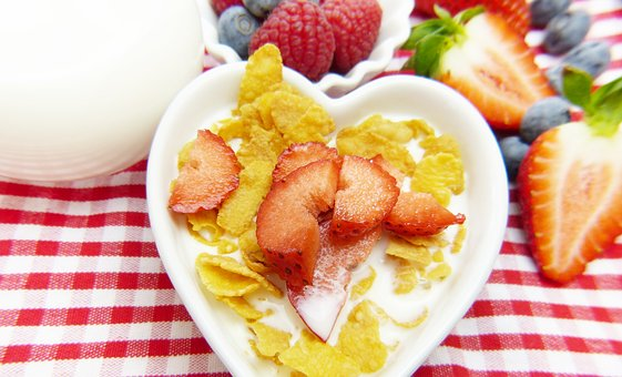 Cornflakes, Milk, Fruit, Fruits, Muesli