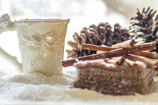 Pine Cones, Snow, Winter, Coffee, Tea