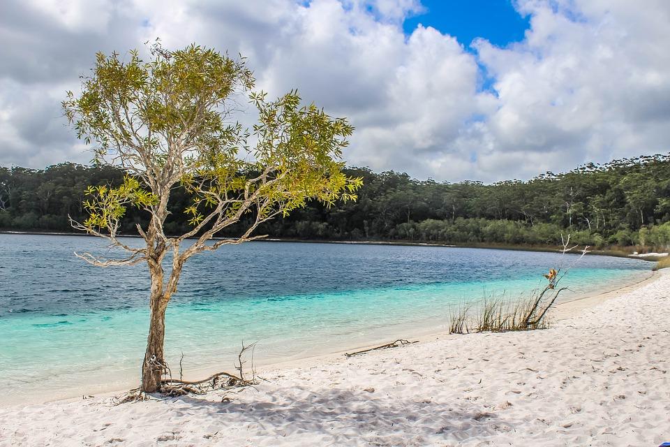 Пляж, Док, Остров Фрейзер, Воды, Летом, Отпуск, Море