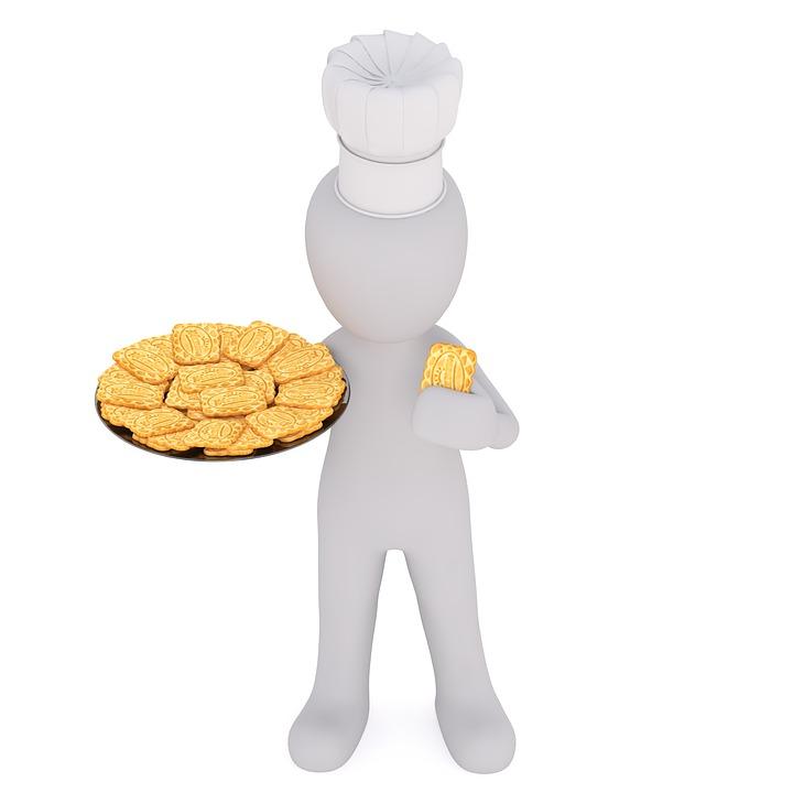 Koch, Bäcker, Konditor, Keks, Gebäck, Präsentieren
