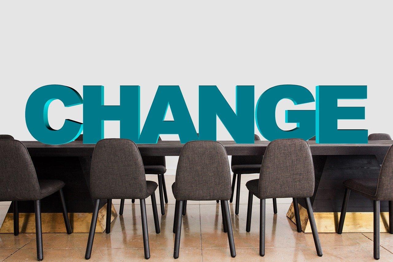 面接会場に「CHANGE」の文字