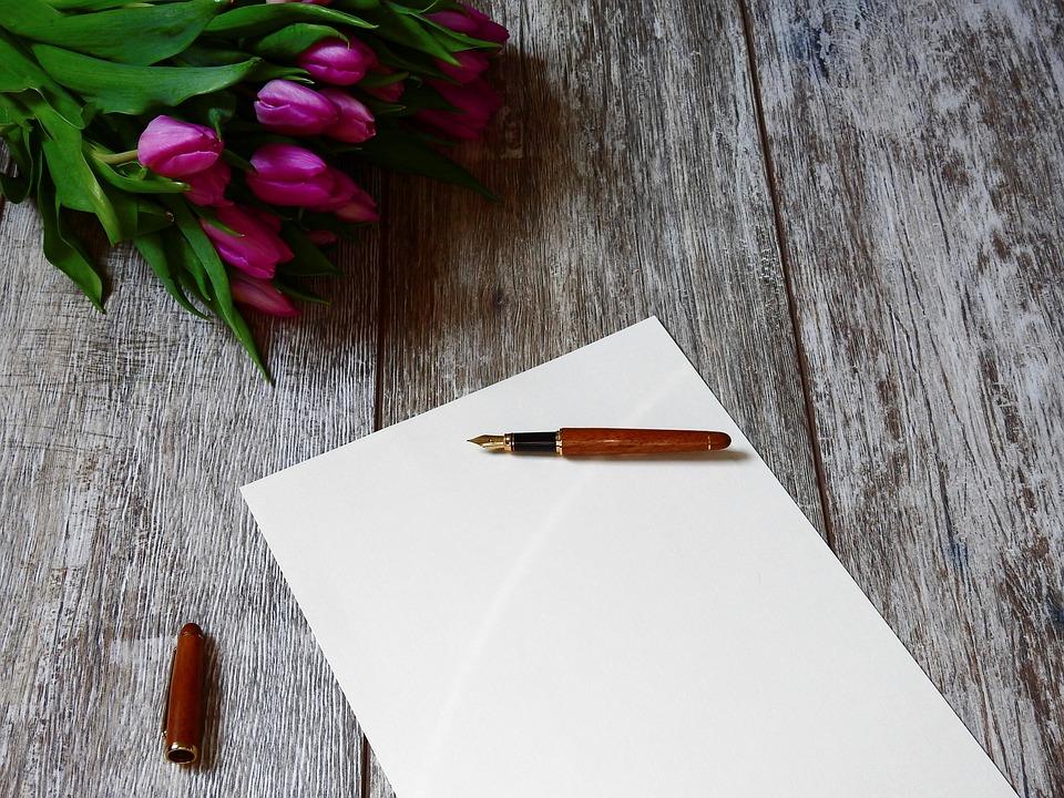 文字, 紙, 書きます, フィラー, 万年筆, 執筆道具, 筆記用具, インク, 花, チューリップ, 花束