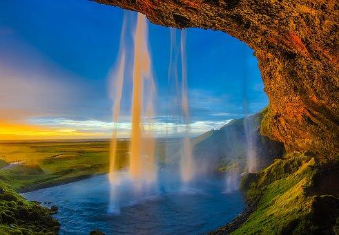 Iceland, Skogafoss, Waterfall, Falls