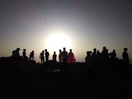 Sunset, Crowd Silhouette