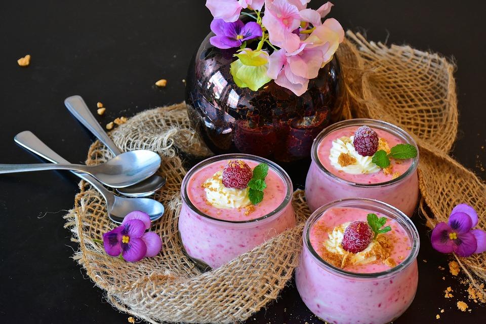 Quark, Quark Raspberries, Dessert, Cream, Sweet Dish