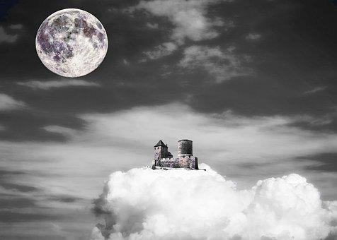 Château, Nuage, Lune, Ciel, Fantaisie