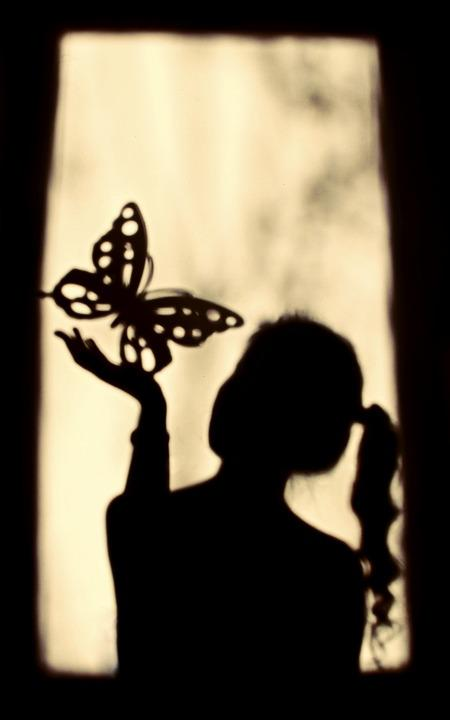 Shadow, Girl, Butterfly, Silhouette, Window