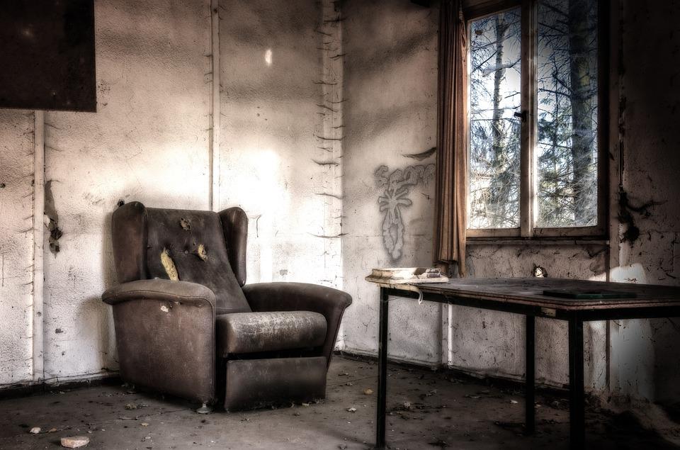 失われた場所, ルーム, 椅子, 放棄された, 暗い, 奇妙な, 過去, 汚い, Pforphoto, 古い