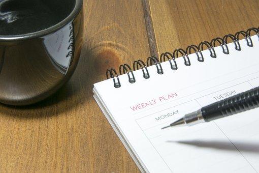 日記, ペン, マグ, 書き込み, カレンダー, 日記, カレンダー