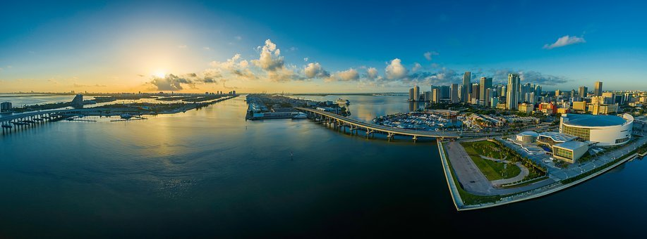 Panorama, Miami, Florida, Water, Usa