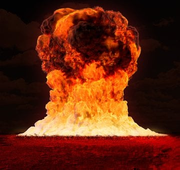 A detonated nuclear bomb to signify 90 reasons why 90% of online businesses fail