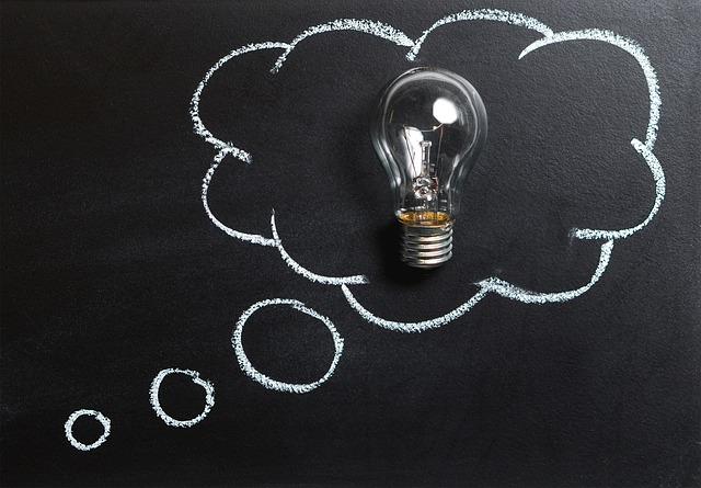 思想, アイデア, 技術革新, 想像力, インスピレーション, 電球, ソリューション, ブレイン ストーム
